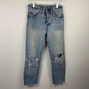 Levi's Vintage Inspired Distressed Raw Hem Jeans